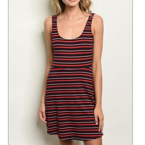 Red + navy scoop neck striped skater mini dress.